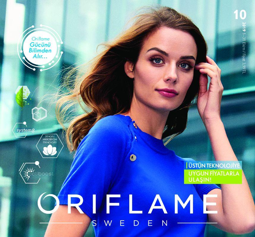 oriflame ekim katalogu 2019 kapak mavi elbiseli kadın